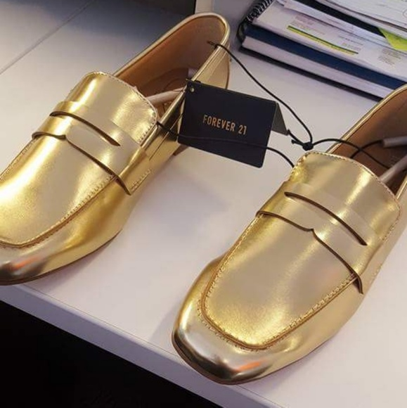 761ee5f1cf8 Forever 21 Gold Metallic Penny Loafers. NWT